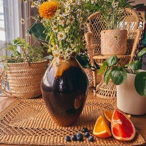 Vintage Cermaic  Caramel Brown Glaze Flower Vase